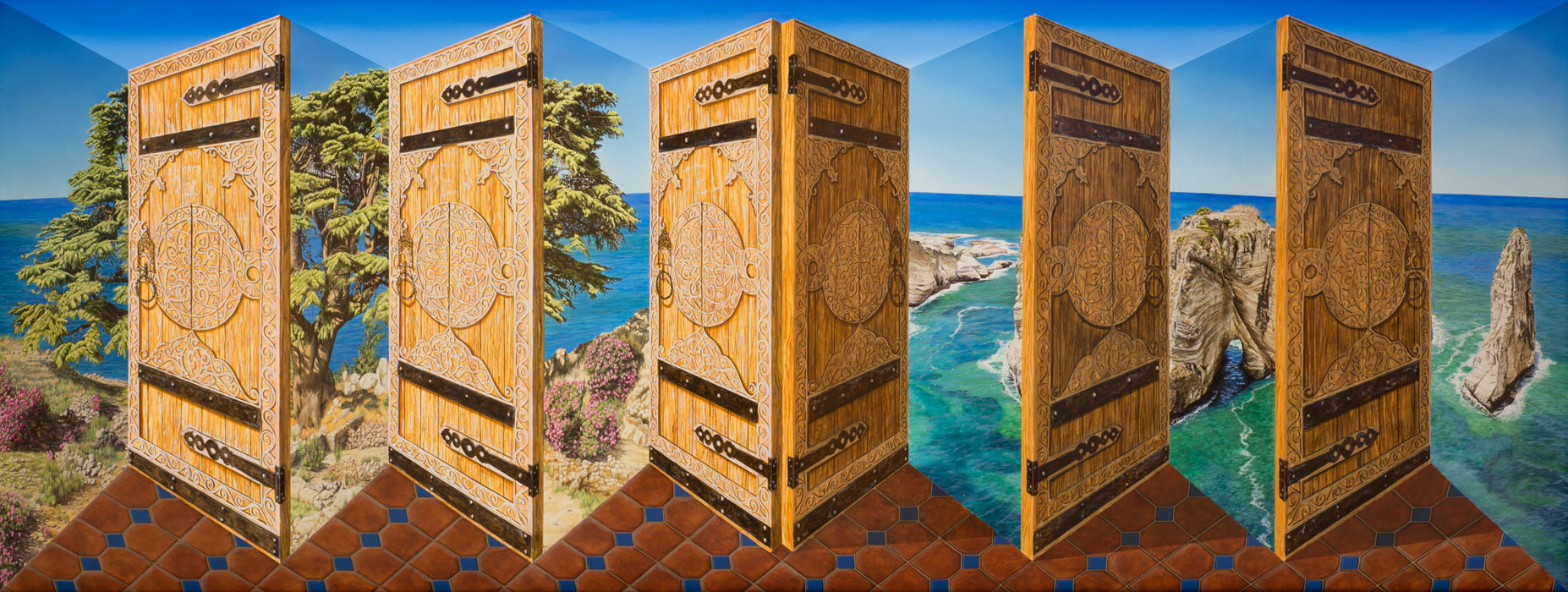 The Lebanon out of Doors <p>2013 | 89.5 X 207 X 21 cm / 35¼ x 81½ x 8¼ in</p>